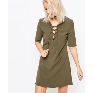 Olive Green Lace Up Dress - Glamorous (ASOS)